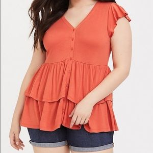 Torrid flutter sleeve top